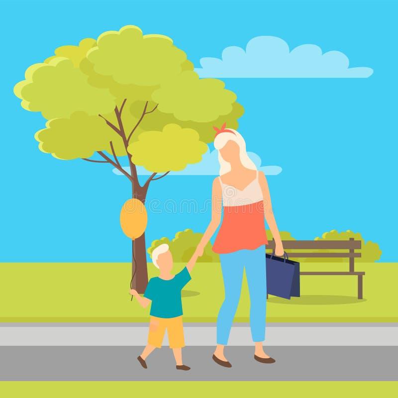 Povos que andam no parque, na mãe e na criança no verão ilustração stock