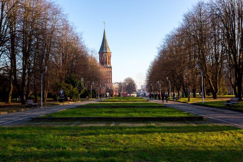 Povos que andam perto da catedral de Immanuel Kant em Kaliningrad Koenigsberg velho na ilha de Kneiphof imagem de stock royalty free