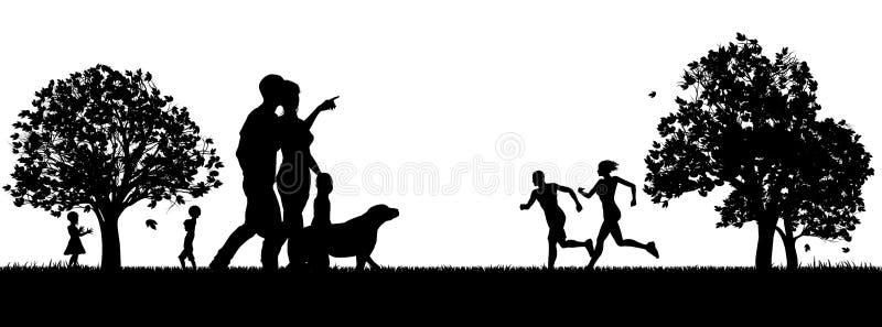 Povos que apreciam as silhuetas do parque do ar livre ilustração royalty free