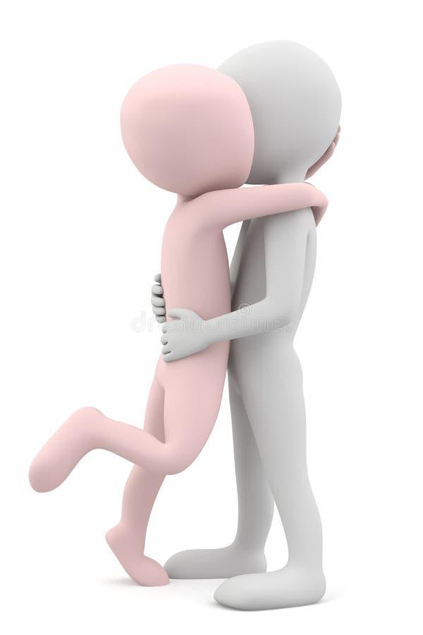 Povos que beijam e que abraçam. ilustração do vetor