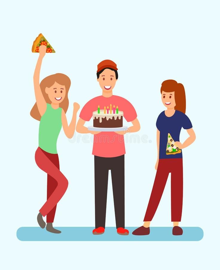 Povos que comemoram a ilustração da festa de anos ilustração stock