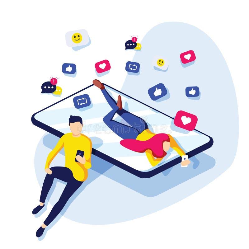 Povos que compartilham da informação através das plataformas sociais dos meios Fundo social da rede do vetor com vermelho como íc ilustração royalty free