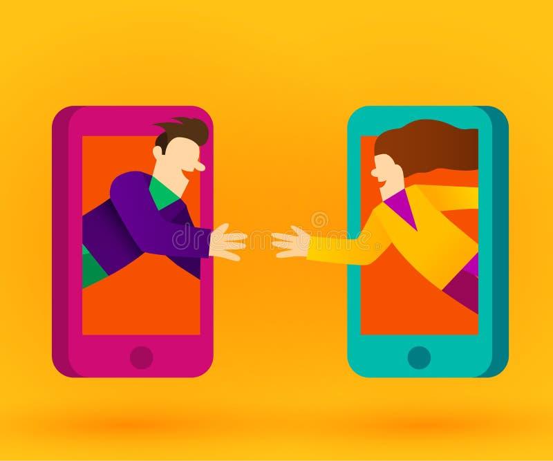 Povos que conectam com os telefones ou o Internet esperto Conceito social da rede ilustração do vetor