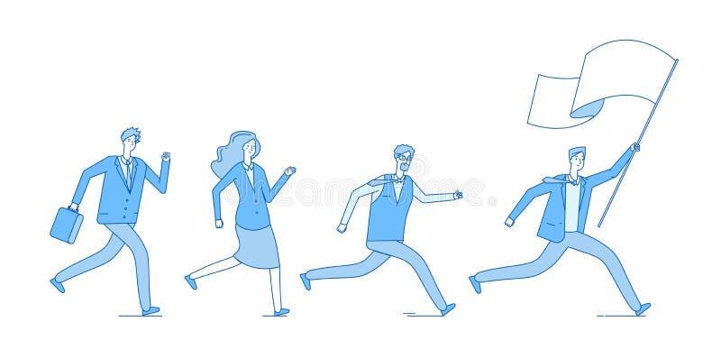Povos que correm com bandeira Pessoas do negócio que seguem equipe principal do escritório do líder Vetor do empreendimento da li ilustração royalty free