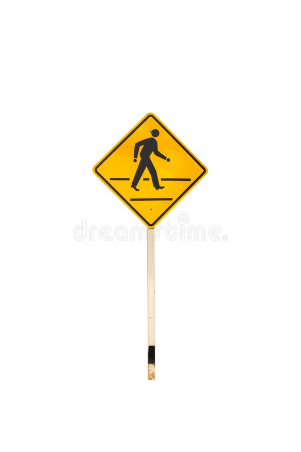 Povos que cruzam o sinal de estrada no branco isolado fotografia de stock royalty free