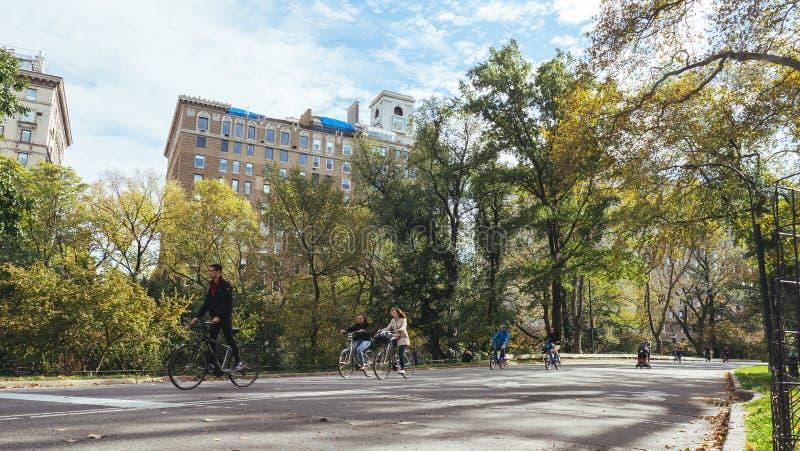 Povos que dão um ciclo no Central Park, Manhattan foto de stock