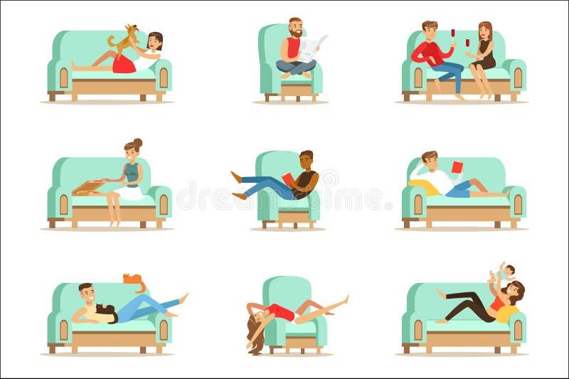 Povos que descansam em casa o relaxamento no tempo livre de Sofa Or Armchair Having Lazy e no resto Seris das ilustrações ilustração do vetor
