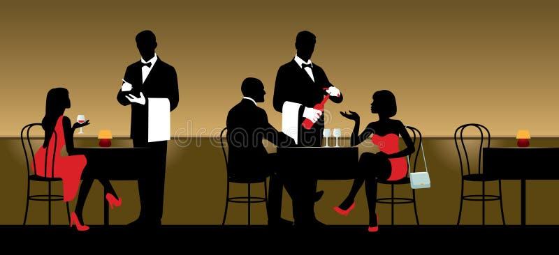 Povos que descansam no clube noturno ou o restaurante e o servi dos garçons ilustração royalty free