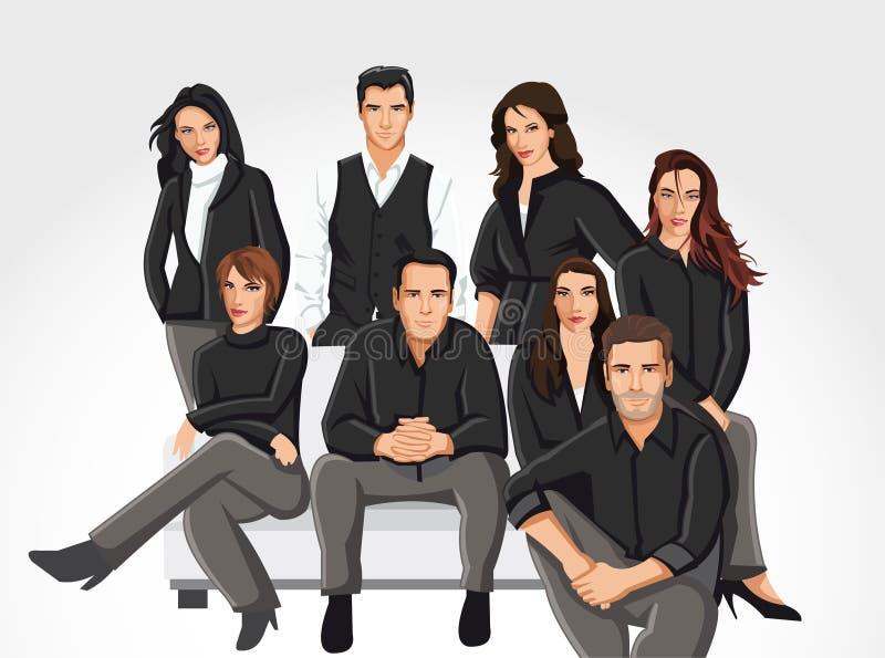 Povos que desgastam a roupa preta no sofá ilustração do vetor
