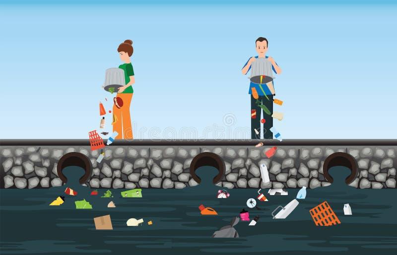 Povos que despejam o lixo no rio ilustração do vetor