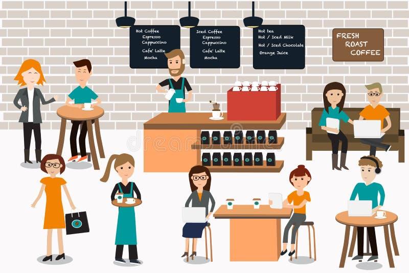 Povos que encontram-se nos elementos do infographics da cafetaria Illustra ilustração royalty free