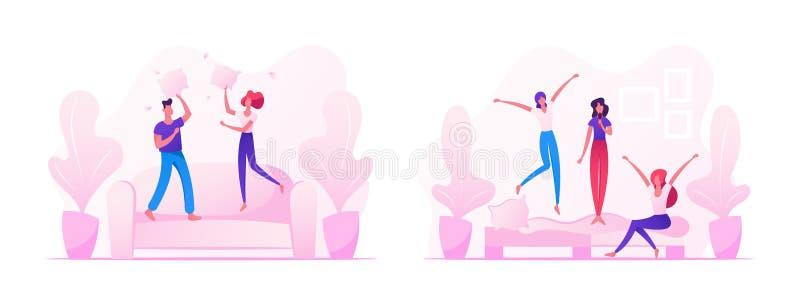 Povos que enganam e que têm o divertimento em casa, o homem e os pares fêmeas que saltam em Sofa Fighting com Descansos, Empresa  ilustração stock