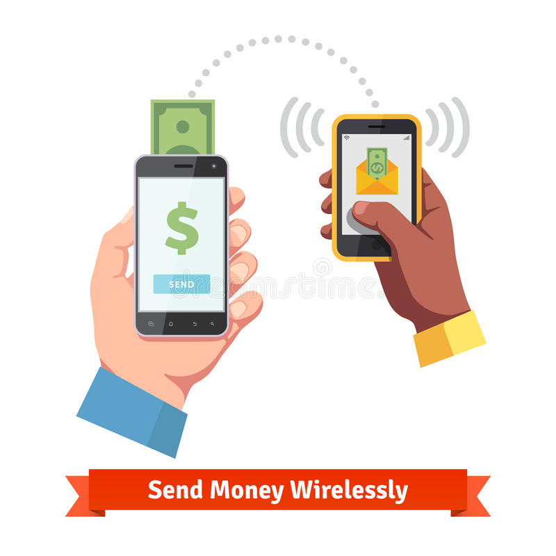 Povos que enviam e que recebem o dinheiro com smartphone ilustração stock