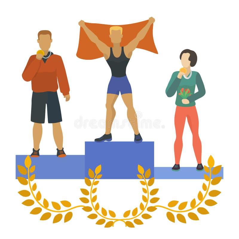 Povos que estão no pódio, concedido com medalhas, troféus Homem e mulher que ganham primeiramente, em segundo, o terceiro lugar d ilustração do vetor