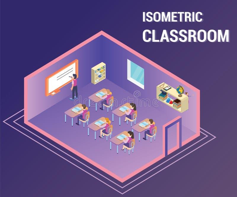 Povos que estudam em uma sala de classe onde o professor lhes esteja ensinando a arte finala isométrica ilustração royalty free