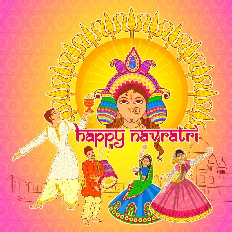 Povos que executam a dança e o Garba de Dhunuchi para Navratri feliz no estilo indiano da arte ilustração do vetor