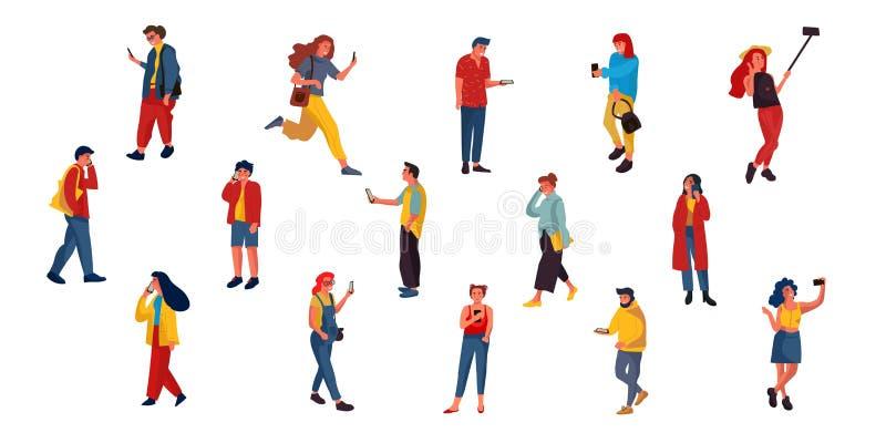 Povos que falam no telefone Caráteres lisos que texting a escuta e a fala com smartphones Ilustrações do vetor felizes ilustração do vetor