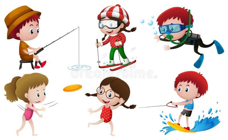 Povos que fazem atividades exteriores diferentes ilustração royalty free