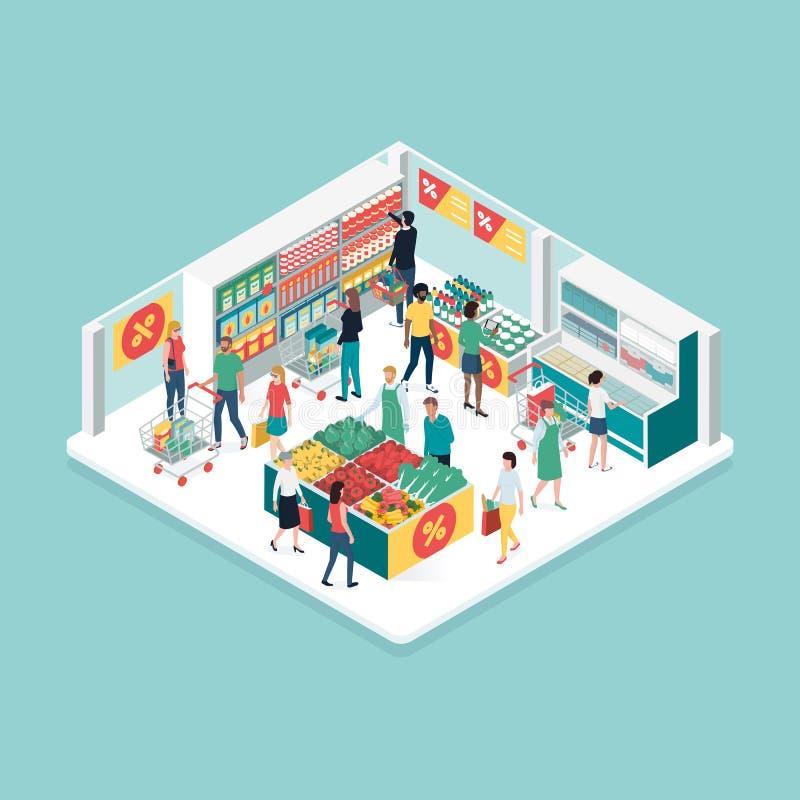 Povos que fazem compras na mercearia no supermercado ilustração royalty free
