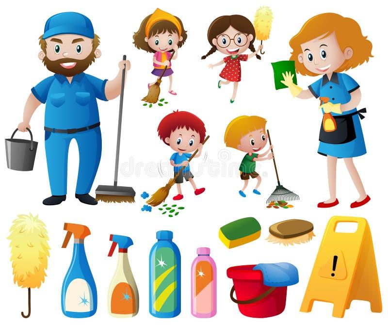 Povos que fazem equipamentos das tarefas e da limpeza ilustração do vetor