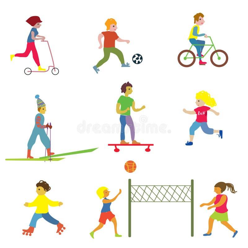 Povos que fazem esportes diferentes - projeto engraçado ilustração do vetor