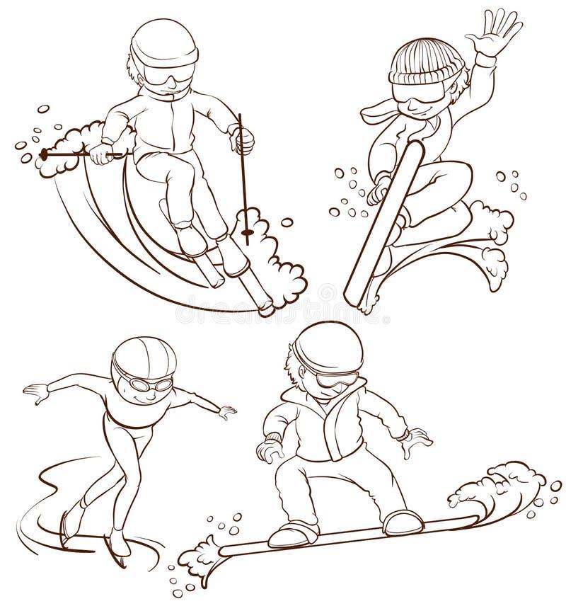 Povos que fazem o wintersport ilustração stock