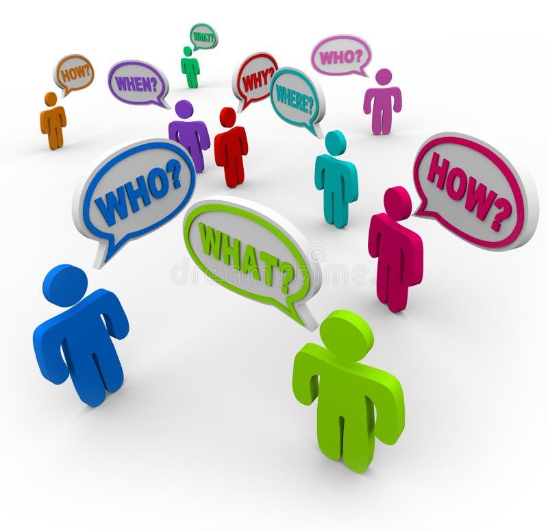 Povos que fazem perguntas em bolhas do discurso ilustração royalty free