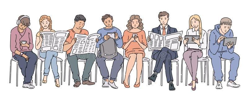 Povos que guardam o jornal, as tabuletas e os telefones ilustração royalty free