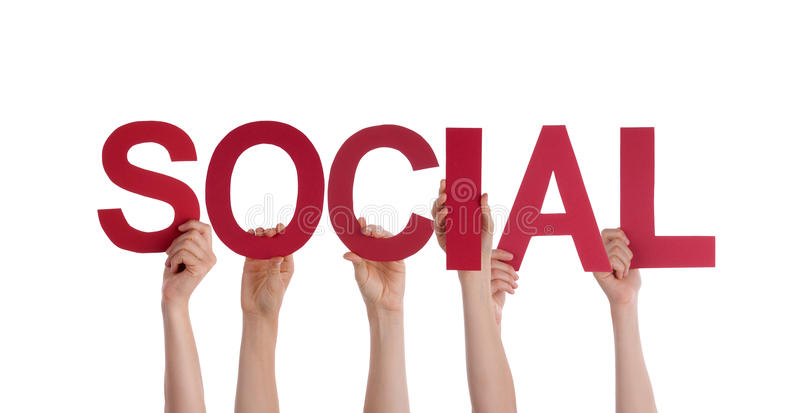 Povos que guardam o Social foto de stock