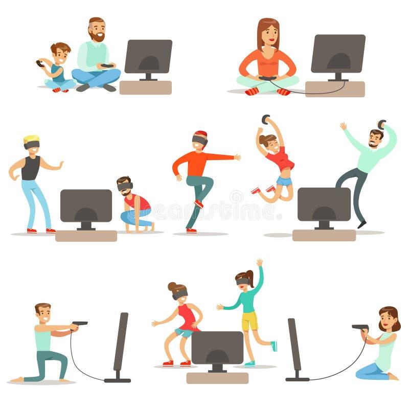 Povos que jogam jogos de vídeo com coleção das tecnologias da alta tecnologia de personagens de banda desenhada felizes ilustração stock