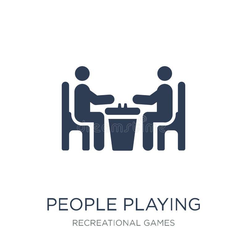 Povos que jogam o ícone do ícone da xadrez Playin liso na moda dos povos do vetor ilustração stock