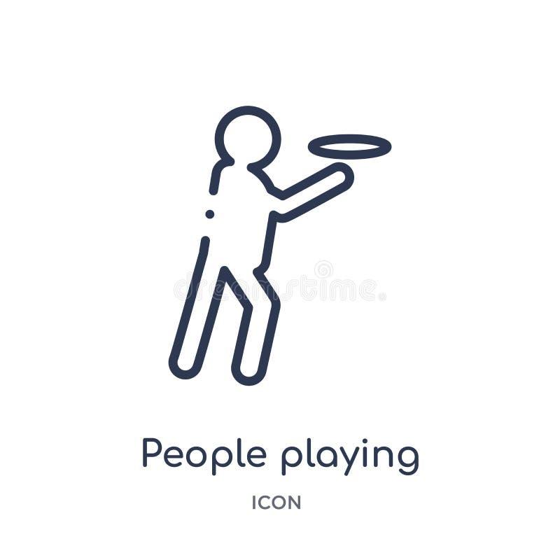 povos que jogam o ícone do frisbee da coleção recreacional do esboço dos jogos Linha fina pessoa que joga o ícone do frisbee isol ilustração stock