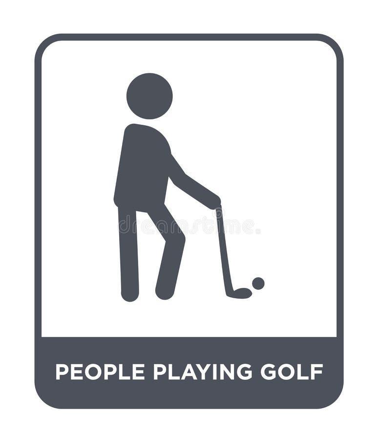 povos que jogam o ícone do golfe no estilo na moda do projeto povos que jogam o ícone do golfe isolado no fundo branco povos que  ilustração stock