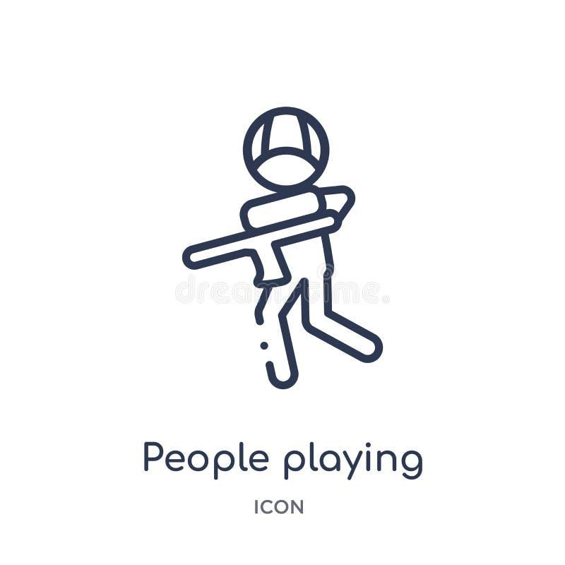 povos que jogam o ícone do paintball da coleção recreacional do esboço dos jogos Linha fina pessoa que joga o ícone do paintball  ilustração do vetor