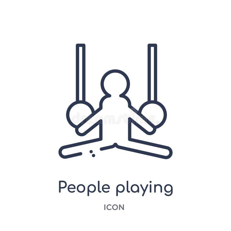 povos que jogam o ícone dos anéis da coleção recreacional do esboço dos jogos Linha fina pessoa que joga o ícone dos anéis isolad ilustração do vetor