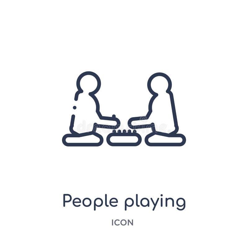 povos que jogam o ícone dos jogos de mesa da coleção recreacional do esboço dos jogos Linha fina pessoa que joga o ícone dos jogo ilustração do vetor