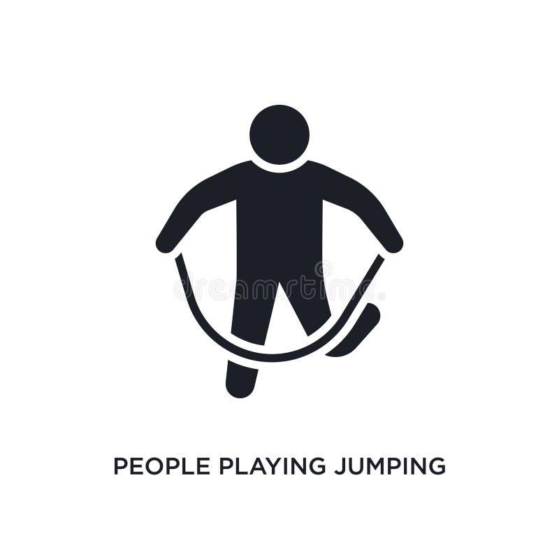 povos que jogam o ícone isolado da corda de salto ilustração simples do elemento dos ícones recreacionais do conceito dos jogos J ilustração royalty free