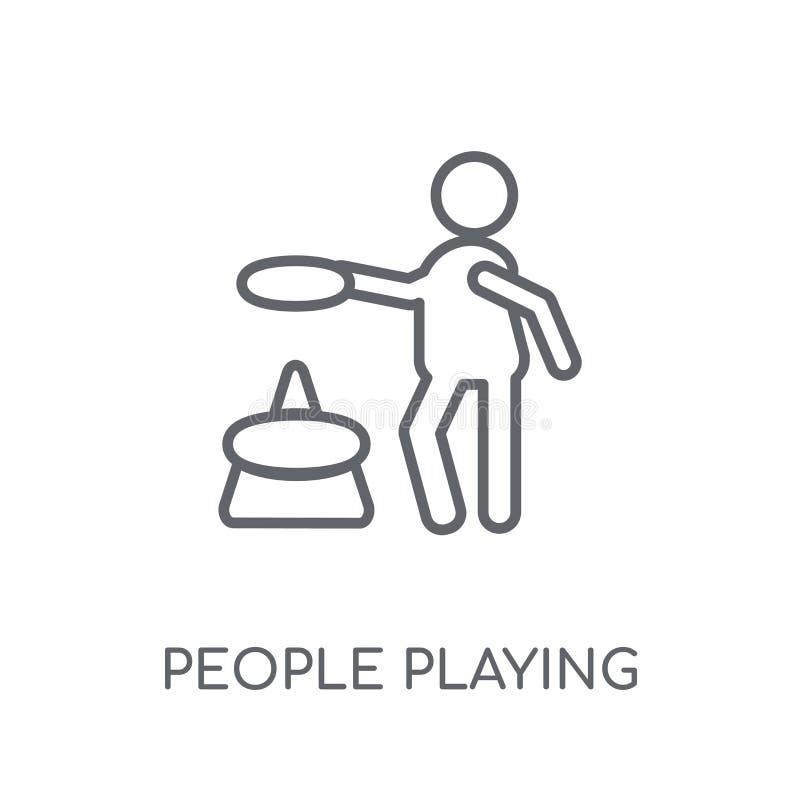 Povos que jogam o ícone linear do ícone dos anéis Pla moderno dos povos do esboço ilustração stock