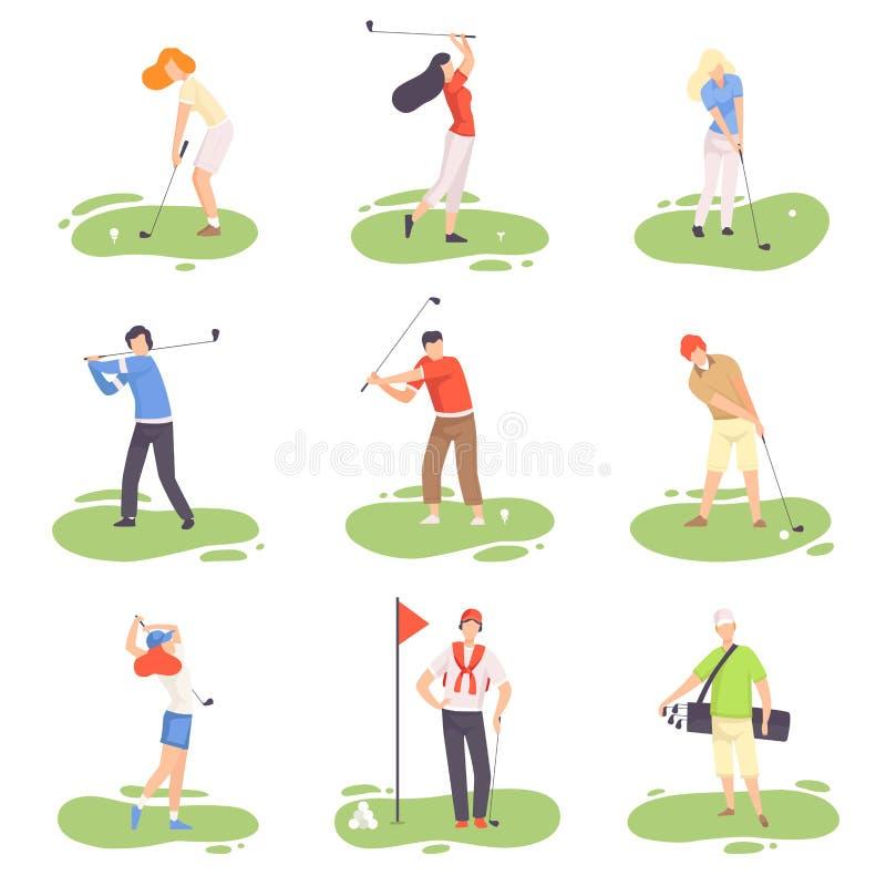 Povos que jogam o grupo do golfe, homem e treinamento fêmea dos jogadores do jogador de golfe com os clubes de golfe no curso com ilustração royalty free