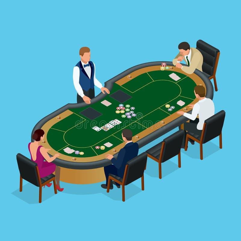 Povos que jogam o pôquer no casino, jogando Grupo isométrico do vetor de jovens que jogam o pôquer em um vetor do casino ilustração royalty free