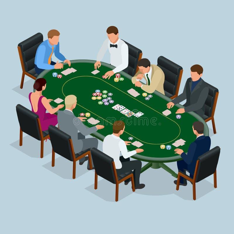 Povos que jogam o pôquer no casino, jogando Grupo isométrico do vetor de jovens que jogam o pôquer em um vetor do casino ilustração do vetor