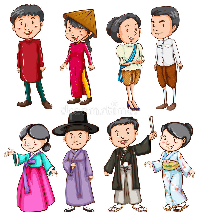 Povos que mostram a cultura asiática ilustração stock