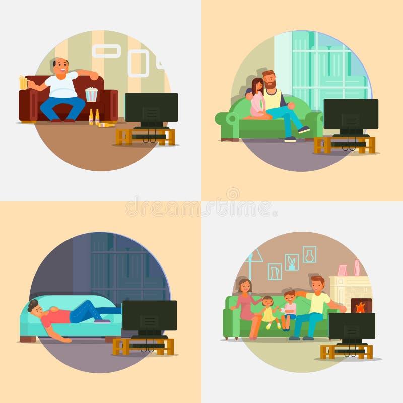 Povos que olham a ilustração lisa do vetor da tevê em casa ilustração stock