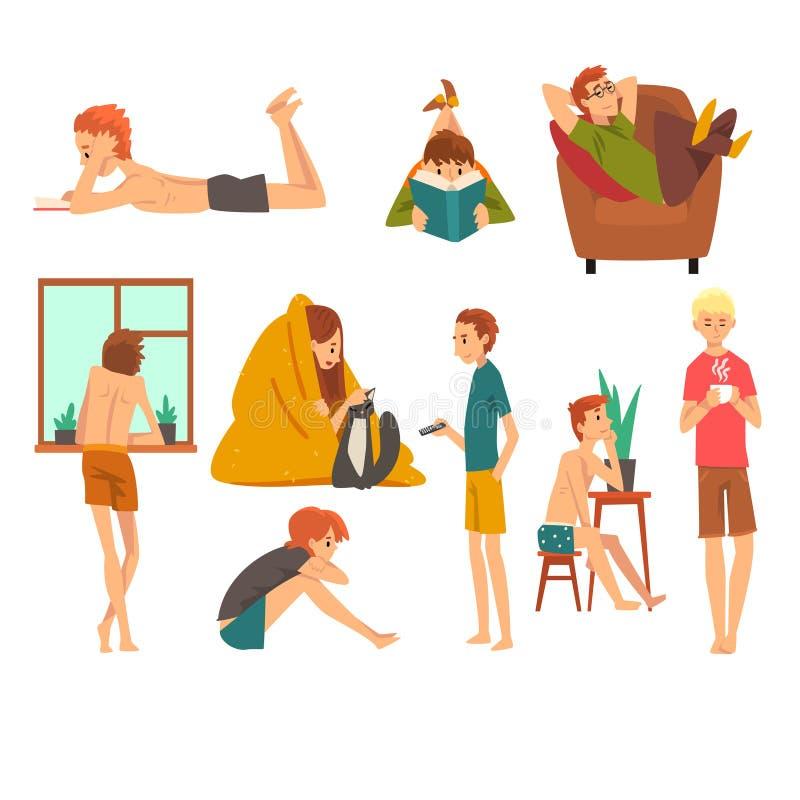 Povos que passam o fim de semana em casa e que relaxam livros de leitura do grupo, do homem e da mulher, sonhando e descansando e ilustração royalty free