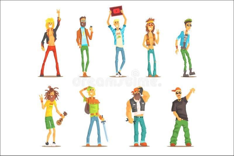 Povos que pertencem ao grupo diferente da subcultura de personagens de banda desenhada reconhec?veis com atributos culturais do g ilustração do vetor