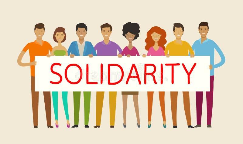 Povos que prendem a bandeira em branco Solidariedade, coesão, conceito da unidade Ilustração do vetor ilustração do vetor