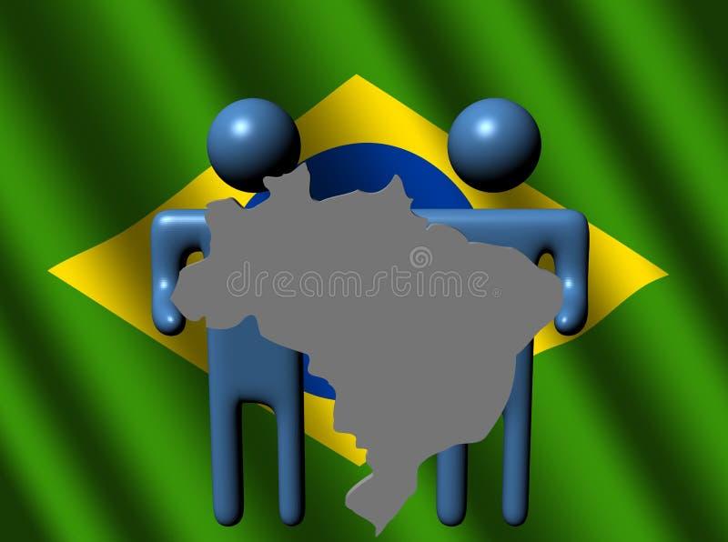 Povos que prendem o sinal brasileiro do mapa ilustração do vetor
