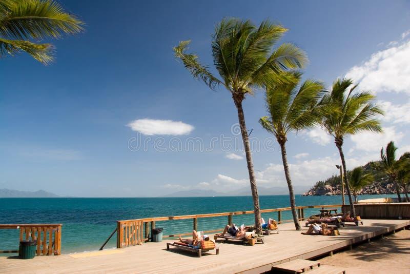 Povos que relaxam em um console tropical fotografia de stock