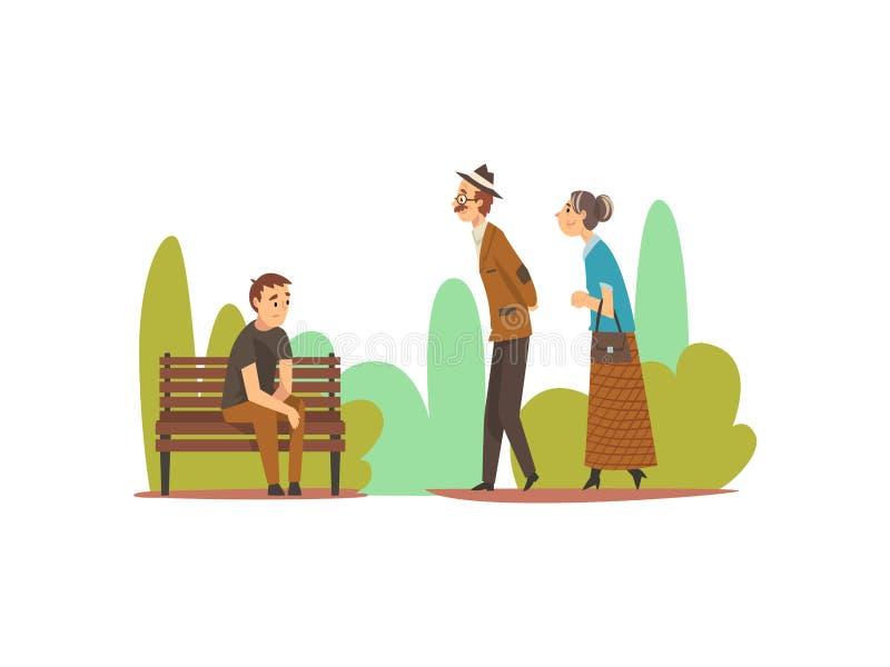 Povos que relaxam na natureza, homem novo que senta-se no banco, par idoso que anda na ilustração do vetor do parque ilustração do vetor