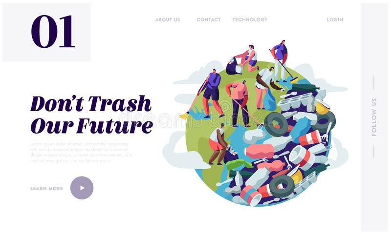 Povos que removem o lixo do planeta Caráteres que limpam a superfície da Terra com os ancinhos Reciclagem e ecologia, conceito  ilustração royalty free